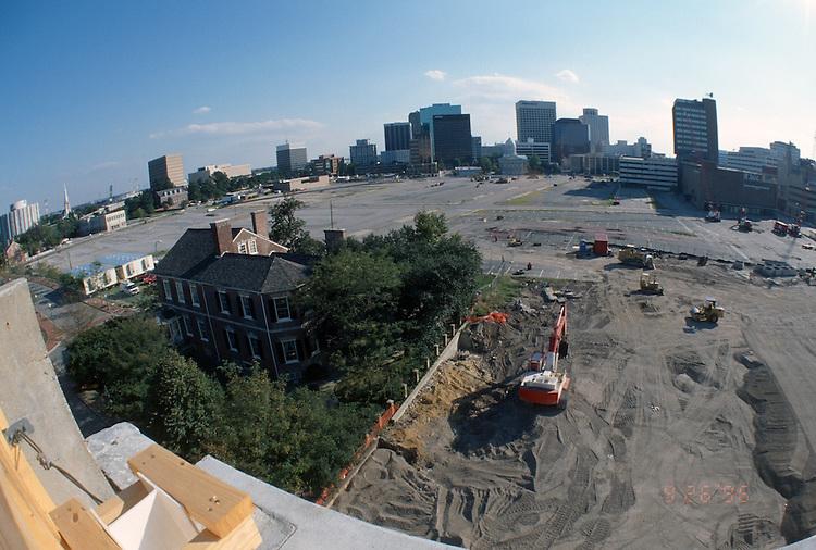 1996 September 26..Redevelopment..Macarthur Center.Downtown North (R-8)..PROGRESS.LOOKING SOUTH.FROM FREEMASON GARAGE..NEG#.NRHA#..