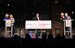 "The ""Avenue Q"" Hosts Town Hall With A Debate Between Puppets Hillary Clinton, ""I'm with Fur"" played by Maggie Lakis & Donald Trump, ""Make Puppets Great Again"" played by Rob McClure at the New World Stages on September 26, 2016 in New York City."