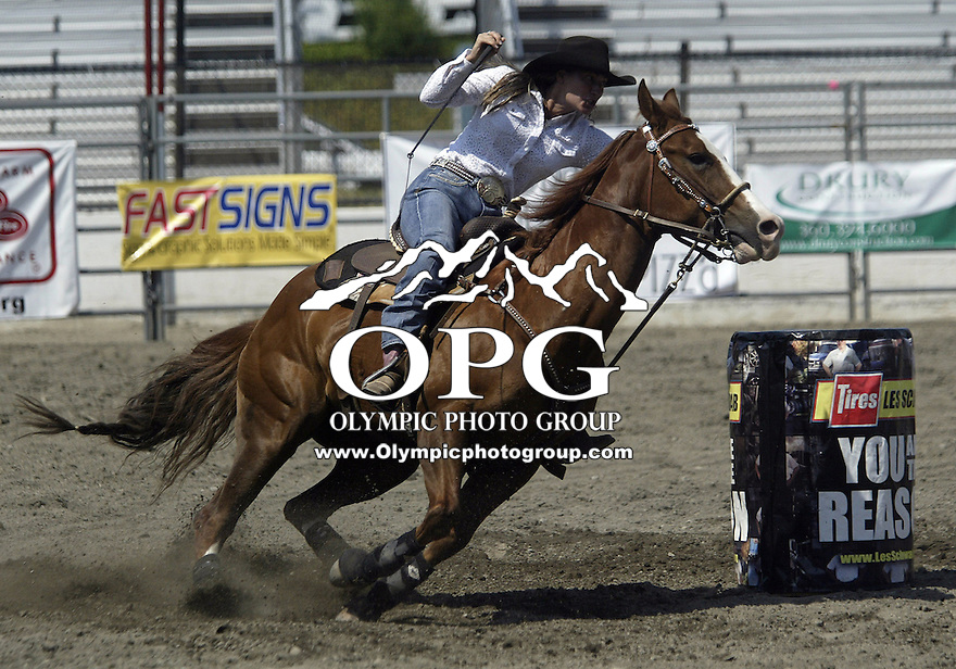 29 June 2008:  Allison Van Koll scored a 18.17 during competition in the Barrel racing  at the ThunderBird Pro Rodeo in Bremerton, Washington.