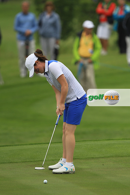 Leona Maguire on the 7th green during the Friday afternoon Fourballs of the 2016 Curtis Cup at Dun Laoghaire Golf Club on Friday 10th June 2016.<br /> Picture:  Golffile | Thos Caffrey