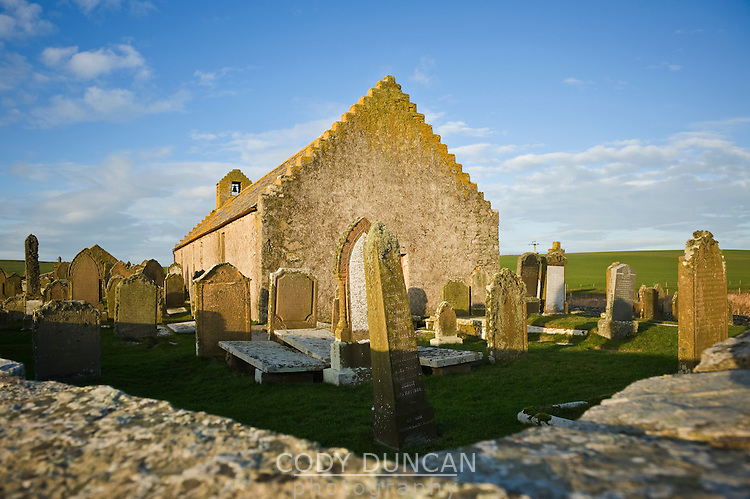 St. Mary's church and cemetery, Burwick, South Ronaldsay, Orkney, Scotland