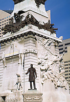 Statue of Gov. Oliver P. Morton and the Soldiers and Sailors Monument at Monument Circle in downtown Indianapolis, Indiana. Indianapolis Indiana.
