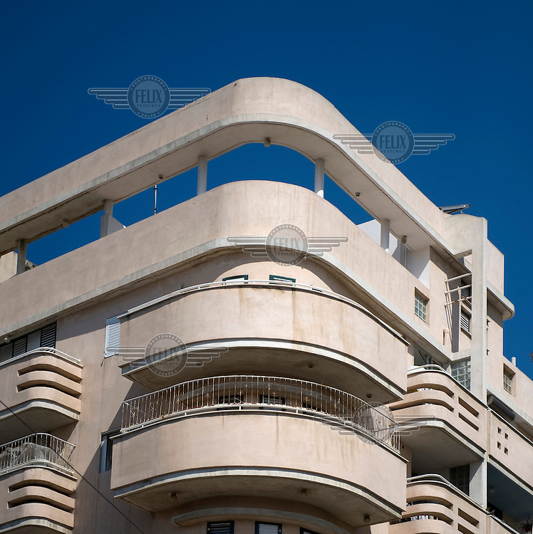 A Bauhaus style building at 73 Shalma Street. Tel Aviv is known as the White City in reference to its collection of 4,000 Bauhaus style buildings, the largest number in any city in the world. In 2003 the Bauhaus neighbourhoods of Tel Aviv were placed on the UNESCO World Heritage List. .