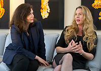 NWA Democrat-Gazette/JASON IVESTER<br />Actress Jeanne Tripplehorn (left) and director Courtney Balaker discuss their film Little Pink House at 21c Museum Hotel in Bentonville as part of the Bentonville Film Festival.