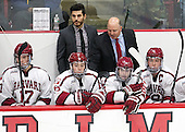 Ted Donato (Harvard - Head Coach) congratulates his son Ryan Donato (Harvard - 16) after 16 scored his first goal. - The Harvard University Crimson defeated the Dartmouth College Big Green 5-2 to sweep their weekend series on Sunday, November 1, 2015, at Bright-Landry Hockey Center in Boston, Massachusetts.