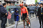 Greg Van Avermaet (BEL) CCC Team makes a young fan happy at sign on before the 2019 Gent-Wevelgem in Flanders Fields running 252km from Deinze to Wevelgem, Belgium. 31st March 2019.<br /> Picture: Eoin Clarke | Cyclefile<br /> <br /> All photos usage must carry mandatory copyright credit (© Cyclefile | Eoin Clarke)