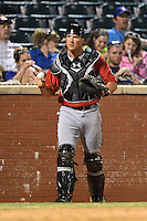 Birmingham Barons catcher Kevan Smith (32) during a game against the Chattanooga Lookouts on April 24, 2014 at AT&T Field in Chattanooga, Tennessee.  Chattanooga defeated Birmingham 5-4.  (Mike Janes/Four Seam Images)