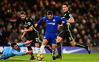 Eden Hazard of Chelsea takes it around Goalkeeper Mat Ryan of Brighton during the EPL - Premier League match between Chelsea and Brighton and Hove Albion at Stamford Bridge, London, England on 26 December 2017. Photo by PRiME Media Images.