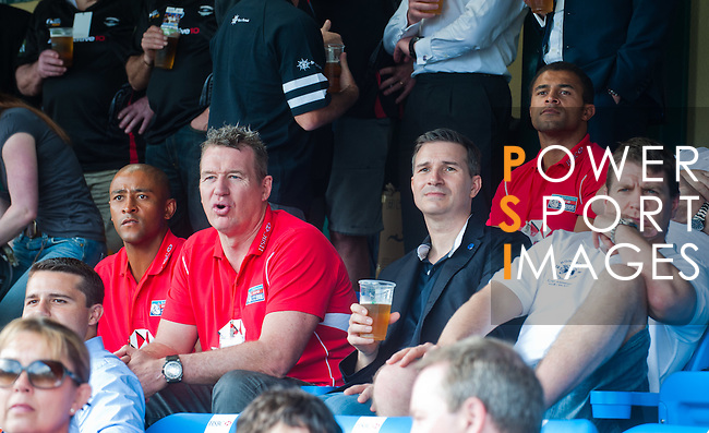 George Greegan and Jason Robinson spectating the action during Day 2 of the GFI HKFC Tens 2012 at the Hong Kong Football Club on March 22, 2012. Photo by Ricardo Ordonez / The Power of Sport Images for HKFC