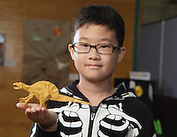 New York, NY, USA - June 22, 2012: Sejin Park, a young Origami designer from Seoul, Korea holds a model he folded for the OrigamiUSA 2012 convention exhibition held at Fashion Institute of Technology in New York City.