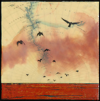 Encaustic painting with birds flying over sea at sunset sky over antique map of Antarctica.
