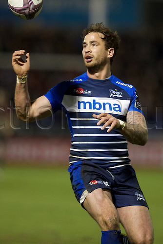 08.04.2016. AJ Bell Stadium, Salford, England. European Champions Cup. Sale versus Montpellier. Sale Sharks fly-half Danny Cipriani watches as the ball comes loose