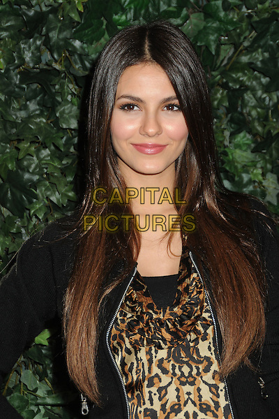 VICTORIA JUSTICE.QVC Red Carpet Style Party held at the Four Seasons Hotel, Beverly Hills, California, USA..February 25th, 2011.headshot portrait black jacket brown beige leopard print top .CAP/ADM/BP.©Byron Purvis/AdMedia/Capital Pictures.