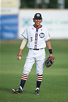 Nicholas Lopez (3) of the High Point-Thomasville HiToms warms up in the outfield prior to the game against the Asheboro Copperheads at Finch Field on June 12, 2015 in Thomasville, North Carolina.  The HiToms defeated the Copperheads 12-3. (Brian Westerholt/Four Seam Images)
