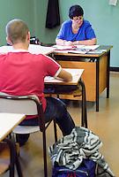 Liceo scientifico Donatelli, scuola media superiore. Milano, 7 ottobre, 2001<br /> <br /> High School classroom. Milan, October 7, 2001