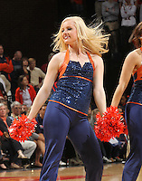 Virginia Cavalier cheerleaders perform during the game against the North Carolina Tar Heels in Charlottesville, Va. North Carolina defeated Virginia 54-51.