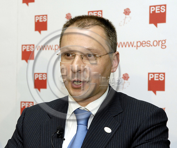 Brussels-Belgium - 08 March 2007---Meeting of PES (Party of the European Socialists) Prime Ministers, Deputy Prime Ministers and Finance or Foreign Affairs Ministers, at the FES-EU Office, prior to the European Union's Spring Summit; here, briefing the press after the meeting: Sergei STANISHEV, Prime Minister of Bulgaria;.---Photo: Horst Wagner/eup-images