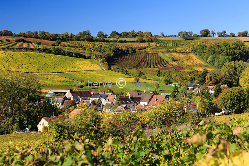 France, Cher (18), région du Berry, Crézancy-en-Sancerre, Reigny, hameau viticole du sancerrois en automne // France, Cher, Crezancy-en-Sancerre, Reigny hamlet, sancerrois vineyard in autumn