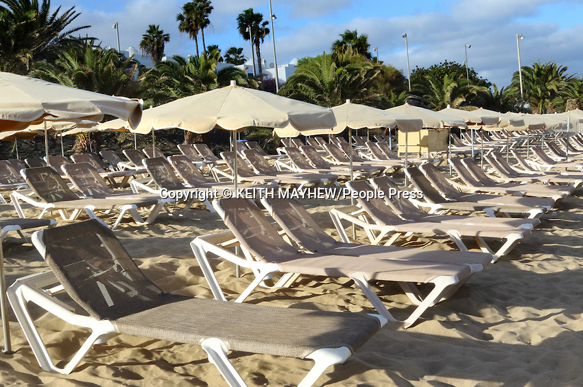 LANZAROTE, CANARY ISLANDS - Las Cucharas beach in the beach resort of Costa Teguise during January 2016 in Lanzarote, Canary Islands<br /> <br /> Photo by Keith Mayhew