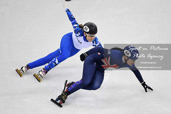 Charlotte Gilmartin (GBR, 44) and Emina Malagich (OAR). Short track. Gangneung ice arena. Pyeongchang2018 winter Olympics. Gangneung. Republic of Korea. 10/02/2018.
