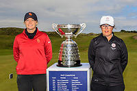 Amelia Garvey (NZL) and Emily Toy (ENG) at the 1st tee during the Matchplay Final of the Women's Amateur Championship at Royal County Down Golf Club in Newcastle Co. Down on Saturday 15th June 2019.<br /> Picture:  Thos Caffrey / www.golffile.ie<br /> <br /> All photos usage must carry mandatory copyright credit (© Golffile | Thos Caffrey)