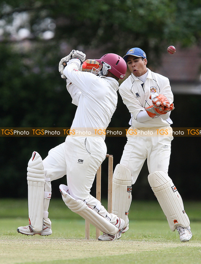 S Samarasekera of Hornchurch looks on from behind the stumps as P William bats for Hawks - Hornchurch Athletic CC vs Hawks CC - Lords International Cricket League at Hylands Park - 16/05/09 - MANDATORY CREDIT: Gavin Ellis/TGSPHOTO - Self billing applies where appropriate - 0845 094 6026 - contact@tgsphoto.co.uk - NO UNPAID USE.