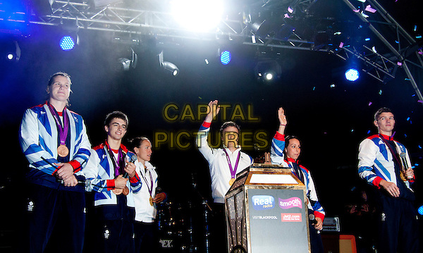 GB Olympic Medallists.Live show to Switch on the world famous Blackpool Illuminations, Blackpool, Lancashire, England..August 31st 2012.half length blue tracksuit light switch .CAP/AG/PP.©Amer Ghazzal/PP/Capital Pictures