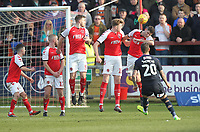 Fleetwood Town's Ched Evans tries to stop Luton Town's George Moncur goal<br /> <br /> Photographer Mick Walker/CameraSport<br /> <br /> The EFL Sky Bet League One - Fleetwood Town v Luton Town - Saturday 16th February 2019 - Highbury Stadium - Fleetwood<br /> <br /> World Copyright © 2019 CameraSport. All rights reserved. 43 Linden Ave. Countesthorpe. Leicester. England. LE8 5PG - Tel: +44 (0) 116 277 4147 - admin@camerasport.com - www.camerasport.com