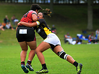 Action from the women's pool match between Wellington and Bay Of Plenty on day one of the 2018 Bayleys National Sevens at Rotorua International Stadium in Rotorua, New Zealand on Saturday, 13 January 2018. Photo: Dave Lintott / lintottphoto.co.nz