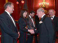 09 March 2016 - London, England - Hugh Bonneville looks on as Prince Charles the Prince of Wales meets Harriet Walter during a gala concert marking the 10th anniversary of the Children and the Arts charity at St James's Palace, London. Photo Credit: ALPR/AdMedia