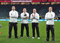 England coaches Andy Farrell, Graham Rowntree, Stuart Lancaster and Mike Catt look on after the match. QBE International match between England and Australia on November 29, 2014 at Twickenham Stadium in London, England. Photo by: Patrick Khachfe / Onside Images