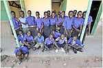 Students outside their classroom in the Southern Sudanese village of Kenyi. The school was constructed by the United Methodist Committee on Relief (UMCOR).  Families here are rebuilding their lives after returning from refuge in Uganda in 2006 following the 2005 Comprehensive Peace Agreement between the north and south. NOTE: In July 2011, Southern Sudan became the independent country of South Sudan