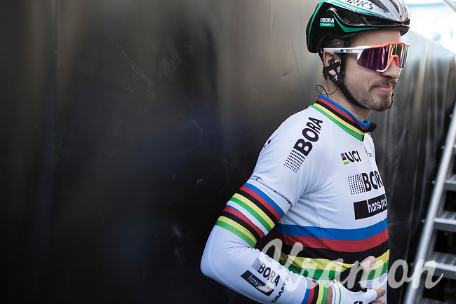World Champion Peter Sagan (SVK/Bora-Hansgrohe) waiting for the pre race team presentation<br /> <br /> 79th Gent - Wevelgem 2017 (1.UWT)