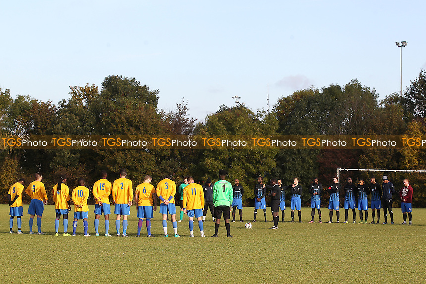 Players observe a one minute silence on Remembrance Sunday ahead of Mile End (yellow/blue) vs FC Bartlett, Hackney & Leyton Sunday League Football at Hackney Marshes on 13th November 2016