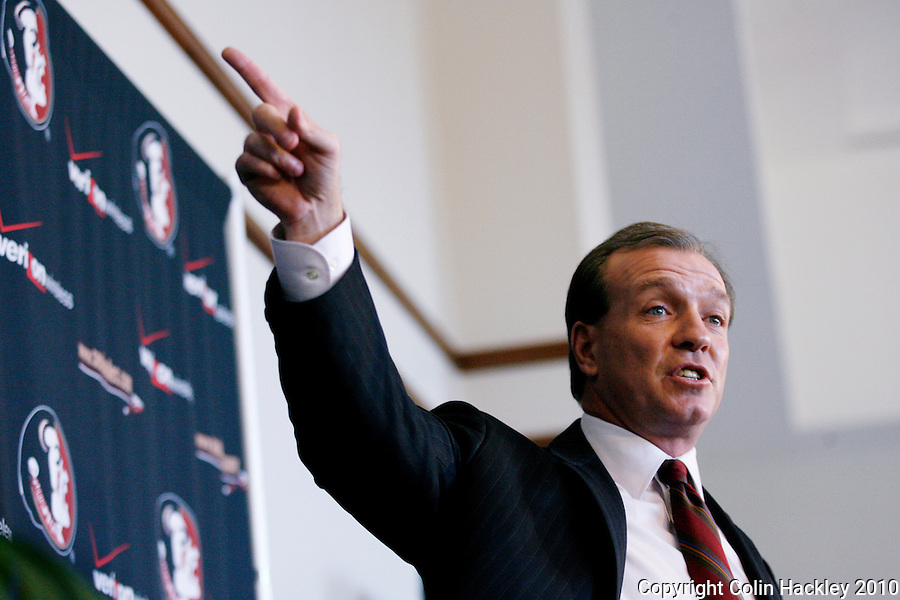 TALLAHASSEE, FLA. 1/6/10-FISHER 010610 CH13-Jimbo Fisher talks about his new job as head coach of the Florida State University football team, Wednesday during a news conference in Tallahassee...COLIN HACKLEY PHOTO