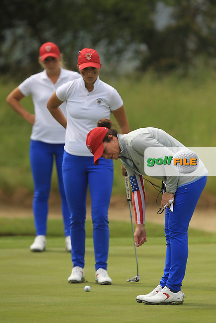 Bailey Tardy and Monica Vaughn with the USA Team Captain Robin Burke on the 15th green during the Saturday Mourning Fourbsomes of the 2016 Curtis Cup at Dun Laoghaire Golf Club on Saturday 11th June 2016.<br /> Picture:  Golffile | Thos Caffrey