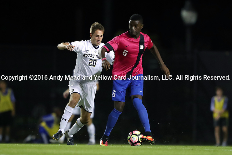 21 October 2016: Duke's Cameron Moseley (6) and Notre Dame's Blake Townes (20). The Duke University Blue Devils hosted the University of Notre Dame Fighting Irish at Koskinen Stadium in Durham, North Carolina in a 2016 NCAA Division I Men's Soccer match. Duke won the game 2-1 in two overtimes.