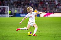 5th March 2020, Orlando, Florida, USA;  England defender Leah Williamson (14) with a shot on goal during the SheBelieves Cup match between England and the USA on March 5, 2020, at Exploria Stadium in Orlando FL.