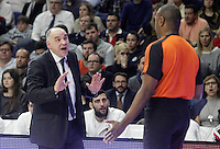 Real Madrid's coach Pablo Laso have words with the referee during Euroleague match.January 22,2015. (ALTERPHOTOS/Acero) /NortePhoto<br />