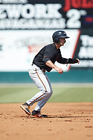 Robbie Thorburn (17) of the Delmarva Shorebirds takes his lead off of second base against the Kannapolis Intimidators at Kannapolis Intimidators Stadium on May 19, 2019 in Kannapolis, North Carolina. The Shorebirds defeated the Intimidators 9-3. (Brian Westerholt/Four Seam Images)