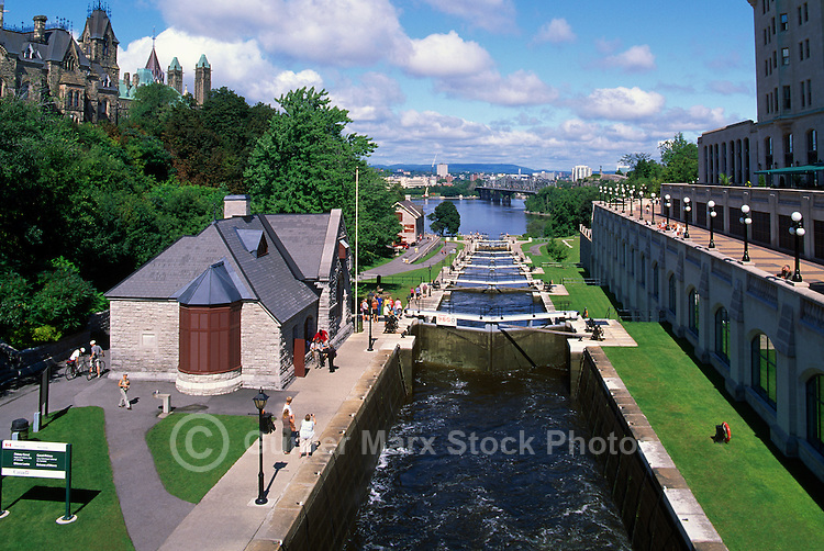 'Ottawa Locks' on Rideau Canal, Rideau Canal National Historic Site (UNESCO World Heritage Site and Canadian Heritage River), in the City of Ottawa, Ontario, Canada - Parliament Buildings on Parliament Hill beside Locks