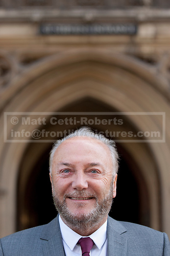 16/04/2012. LONDON, UK. George Galloway stands outside the Houses of Parliament ahead of his being sworn in as the Respect Party's MP for Bradford West. Photo credit: Matt Cetti-Roberts