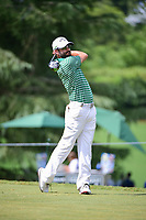 Adam Hadwin (CAN) watches his tee shot on 9 during Friday's round 2 of the PGA Championship at the Quail Hollow Club in Charlotte, North Carolina. 8/11/2017.<br /> Picture: Golffile | Ken Murray<br /> <br /> <br /> All photo usage must carry mandatory copyright credit (&copy; Golffile | Ken Murray)
