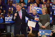 Fairfax, VA - February 29, 2016: Virginia Governor Terry McAuliffe introduces former U.S. Secretary of State and 2016 presidential candidate Hillary Clinton during a campaign event the George Mason University in Fairfax, VA, one day ahead of the Super Tuesday primaries, February 29, 2016.  (Photo by Don Baxter/Media Images International)