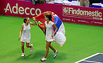 Bojana Jovanovski and Aleksandra Krunic  Fed Cup Serbia vs Canada, World group II, first round, Novi Sad, Serbia, SPENS Sports Center, Sunday, February 06, 2011. (photo: Srdjan Stevanovic)(credit image & photo: Pedja Milosavljevic / +381 64 1260 959 / thepedja@gmail.com )