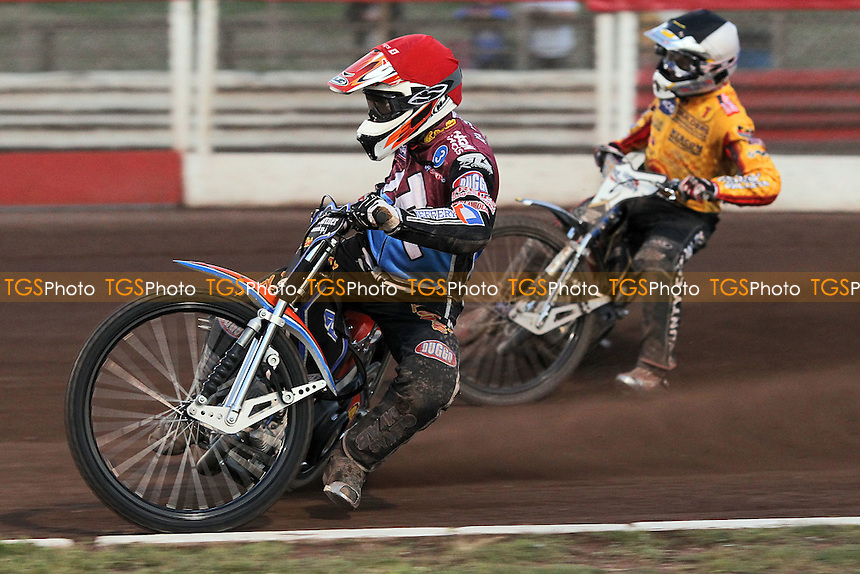 Heat 5: Peter Karlsson (red) ahead of Bjarne Pedersen - Lakeside Hammers vs Birmingham Brummies - Sky Sports Elite League Speedway at Arena Essex Raceway, Purfleet - 10/08/12 - MANDATORY CREDIT: Gavin Ellis/TGSPHOTO - Self billing applies where appropriate - 0845 094 6026 - contact@tgsphoto.co.uk - NO UNPAID USE.