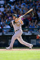 September 28, 2008: Oakland Athletics' Jeff Baisley at-bat during a game against the Seattle Mariners at Safeco Field in Seattle, Washington.