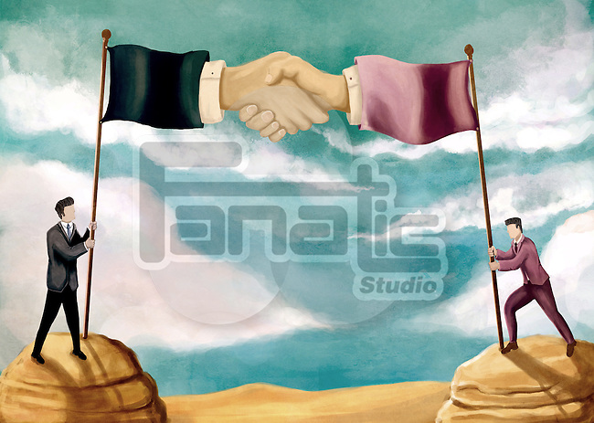 Illustrative image of businessmen holding flag poles representing business agreement