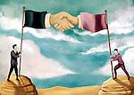 Illustrative image of businessmen holding flag poles representing business agreement