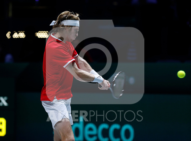Andrey Rublev of Russia plays a backhand against Filip Krajinovic of Serbia during Day 5 of the 2019 Davis Cup at La Caja Magica on November 22, 2019 in Madrid, Spain. (ALTERPHOTOS/Manu R.B.)